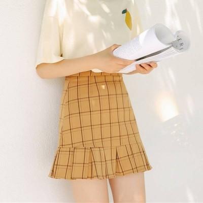 ハイウエスト プリーツ チェック スカート ミニ カジュアル 可愛い 夏 レディース ファッション