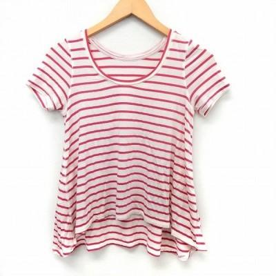 【中古】アダムエロペ Adam et Rope' カットソー Tシャツ ボーダー 半袖 Uネック テールカット 38 ピンク ホワイト /ST16 レディース 【ベクトル 古着】