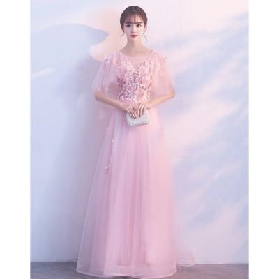 ロングドレス 結婚式 大きいサイズ パーティードレス パーティドレス ワンピース ドレス ウェディングドレス  ドレス[ピンク]