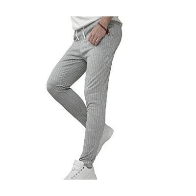 BillionWorks スウェットパンツ ジョガーパンツ メンズ テーパードパンツ ストライプ スリム ストレッチパンツ
