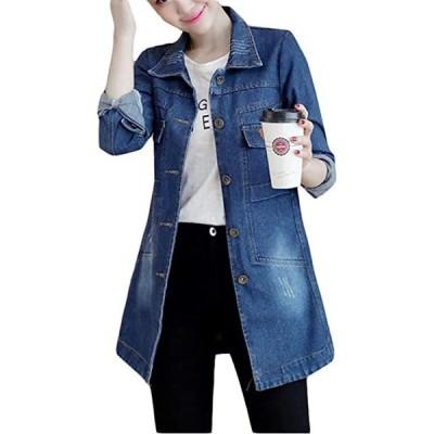 レディース デニムジャケット ロング スリム アウター ジージャン トレンチコート 薄手 春服韓国ファッション(s2012250555)