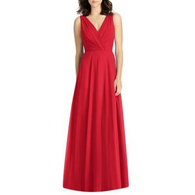 ジェニー・パッカム レディース ワンピース トップス V-Neck Sleeveless A-Line Lux Chiffon Bridesmaid Gown