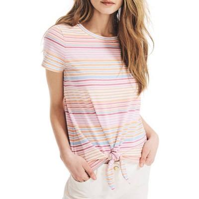 ナウティカ レディース Tシャツ トップス Women's Striped Tie Front Top