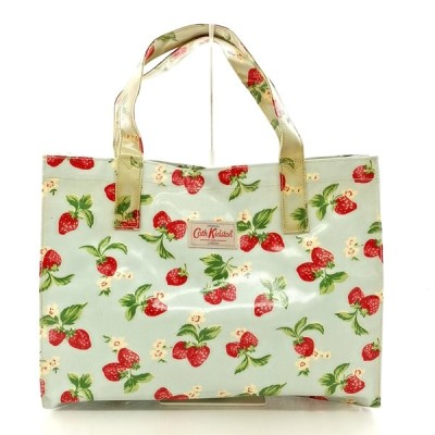 送料無料 キャスキッドソン Cath Kidston ハンドバッグ トートバッグ 鞄 総柄 いちごモチーフ 水色系 レディース