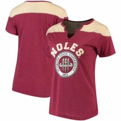 Klutch クラッチ スポーツ用品  Florida State Seminoles Womens Heathered Garnet Knotch Neck T-Shirt