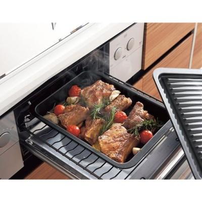 グリルオーブンパン(フタ付き)/油汚れ防止/ブラック/レギュラー
