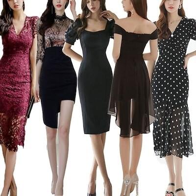 [高レビュー]超目玉夏韓国ファッションパーティードレスミモレ丈 ショートワンピース20代30代40代