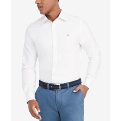 トミー ヒルフィガー メンズ シャツ トップス Men's Custom Fit New England Solid Oxford Shirt Bright White