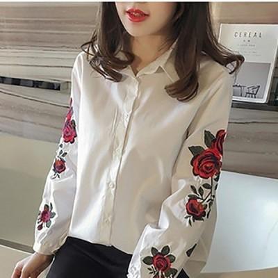 セール花柄刺繍刺繍入りシャツパンチング刺繍レーストップスポイント