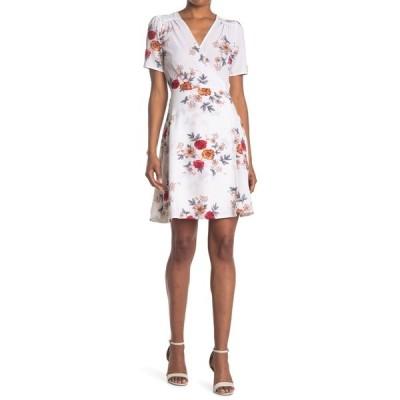 パピロン レディース ワンピース トップス Floral Print Short Sleeve Wrap Dress WHITE/MULTI