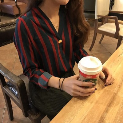 新作登場 気質 長袖 女 新しいデザイン 秋服 韓国風 怠惰な レジャー ルース ストライプのシャツ
