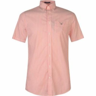 ガント Gant メンズ 半袖シャツ トップス Short Sleeve Pop Stripe Shirt Coral