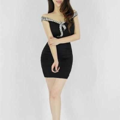 豪華でエレガントな胸元ビジュストーン装飾/サイドフロントギャザーストレッチミニドレス 全4色(黒赤白青)mier mistre mityte