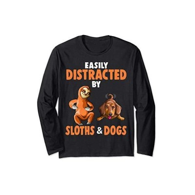 ナマケモノやダックスフント犬に気を取られやすい恋人ギフト 長袖Tシャツ