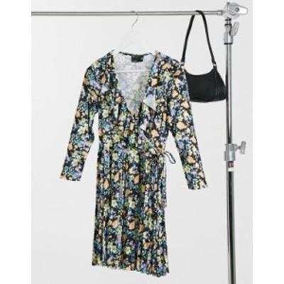 エイソス レディース ワンピース トップス ASOS DESIGN long sleeve pleated mini wrap dress in black floral print Black floral print