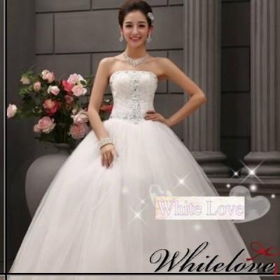 ウエディングドレス ロングドレス 結婚式 花嫁 二次会 ウェディングドレス 発表会 演奏会 ロング ドレス 衣装 白 ホワイト 編み上げ ベアトップ スパンコール