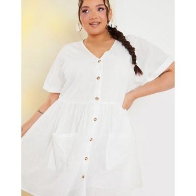 インザスタイル ドレス 大きいサイズ レディース In The Style Plusx Stacey Solomon button through mini skater dress with pockets in white エイソス ASOS