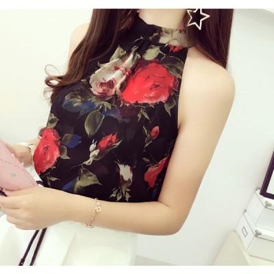 女性 夏花柄 ドット柄 縞柄 ベストノースリーブ シャツ花シフォンブラウスカジュアル緩いタンクトップシャツ2020新品