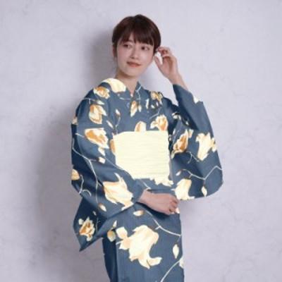 浴衣 セット レディース 浴衣 3点セット(浴衣/帯/下駄)ネイビー 鉄紺 黄色 ベージュ 木蓮 ニコアンティーク Nico Antique フリ
