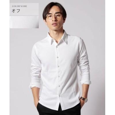 (THE CASUAL/ザカジュアル)(スプ) SPU スマートフィットストライプ編みストレッチシャツ/メンズ オフホワイト