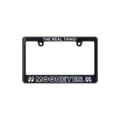 MOONEYES(ムーンアイズ)ライセンスフレーム ナンバー枠 ブラック MOONEYES THE REAL THING!【中型大型バイク用 2輪車用 126cc〜】