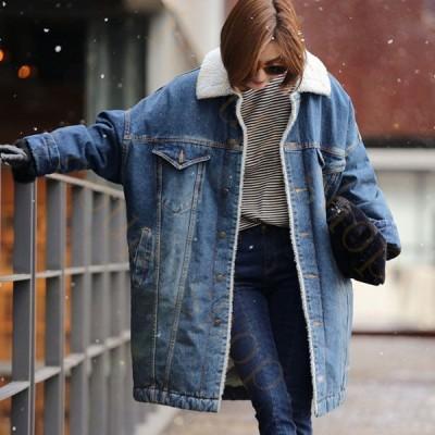 デニムジャケット パーカー Gジャン レディース アウター デニム 長袖 ジージャン コート ロング丈 韓国風 着痩せ ゆったり 暖かい きれいめ