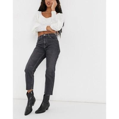トップショップ レディース デニムパンツ ボトムス Topshop straight leg jeans in extreme washed black Black