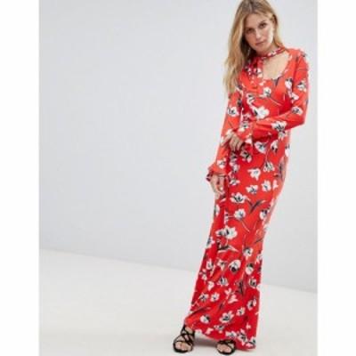 エイソス ASOS DESIGN レディース ワンピース マキシ丈 ワンピース・ドレス ASOS Maxi Tea Dress With Neck Tie In Red Floral レッドフ