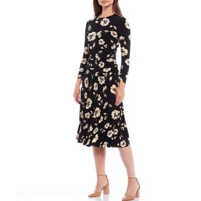 マギーロンドン レディース ワンピース トップス Floral Matte Jersey Midi Dress Black/Wheat