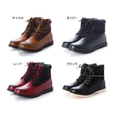 4cm防水配色ブーツ(キャメル×25.5)
