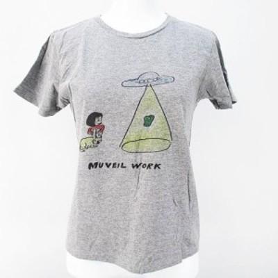 【中古】ミュベールワーク MUVEIL WORK 半袖 カットソー プリントTシャツ 36 グレー 灰系 ロゴ文字 日本製 綿