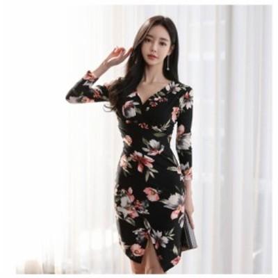 ミニドレス 花柄ワンピース レディース 袖あり  膝丈ワンピース パーティードレス ナイトドレス きれいめ 40代 韓国風 タイトワンピース
