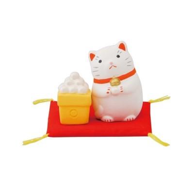 置き物 四季の福猫お月見 猫5.7x3.5x3.6 団子3.4x2.3x2.3cm