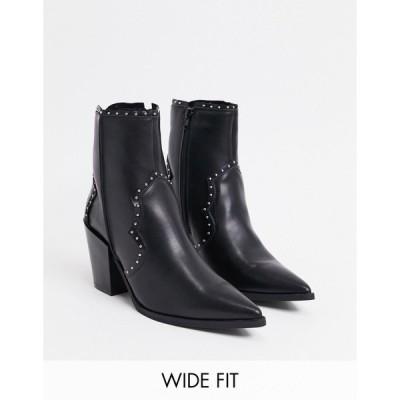 トゥラッフル レディース ブーツ&レインブーツ シューズ Truffle Collection wide fit western mid heel ankle boots in black Black