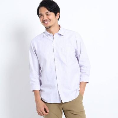 タケオ キクチ TAKEO KIKUCHI ドビードット刺し子7分袖シャツ (ライトパープル)