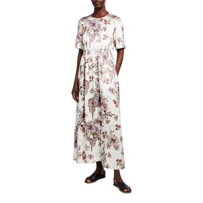 アダム リピズ レディース ワンピース トップス Floral-Print Silk Maxi Dress