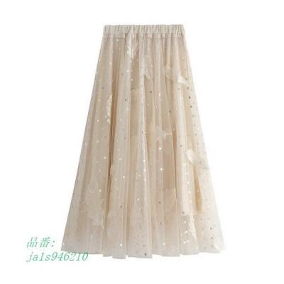 チュールスカート スカート春 スカート スカートコーデ ボスカート 可愛い 体型カバー マキシ丈スカート ふわふわ ウエストゴム レディース