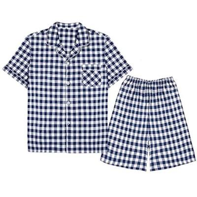Setom ガーゼパジャマ メンズ パジャマ 綿100% ガーゼ 夏 半袖 前開き ガーゼ ブルー 上下 セット 部屋着 快適 快眠 吸汗