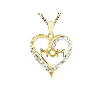 ホワイト天然ダイヤモンド「Mom」ハートペンダントネックレス14Kゴールドオーバースターリングシルバー( 0.1CT )並行輸入品