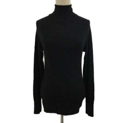 【中古】ザラ ZARA KNIT セーター ニット プルオーバー タートルネック パール 長袖 USA S 黒 ブラック レディース