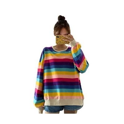 [TaiShan] レディース レイン ボースト ライプセーター 秋と冬 韓国 スタイル 緩い 怠惰な スタイル 薄い 長袖 Tシ