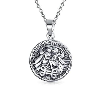ラージ Gemini Zodiac Medallion ペンダント スターリング シルバー ネックレス 18 インチ(海外取寄せ品)