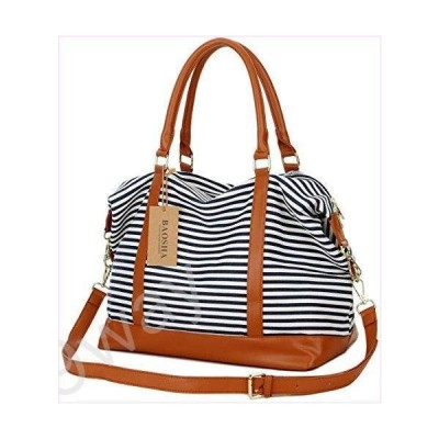 BAOSHA HB-28 Ladies Woメンズ Canvas Travel Weekender Overnight Carry-on Shoulder Duffel Tote Bag With PU レザー Strap (ブラック)