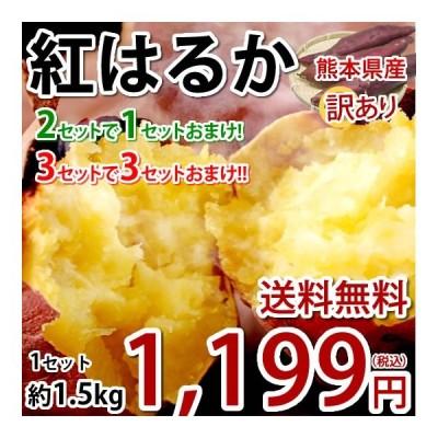 さつまいも 紅はるか 訳あり 1.5kg 送料無料 2セット購入で1セットおまけ 3セット購入で3セットおまけ お取り寄せ べにはるか 熊本県産 焼き芋 芋 いも