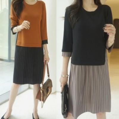 配色ワンピース カジュアル プリーツ 大人女子 韓国ファッション 韓国ワンピース