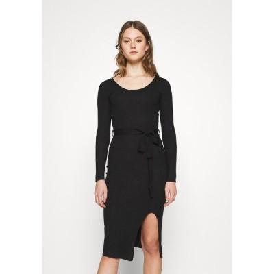 エブンアンドオッド ワンピース レディース トップス Knitted jumper midi dress with belt - Shift dress - black