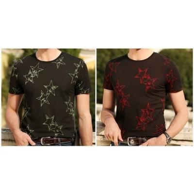 半袖TシャツカットソーメンズTシャツトップスシンプル黒色星柄コットンUネックおしゃれ夏物薄地安い