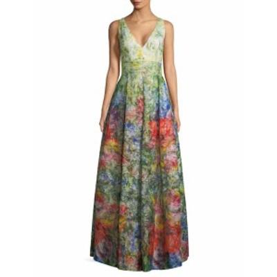 アリス+オリビア レディース ワンピース Chantal Floral Plunging Gown