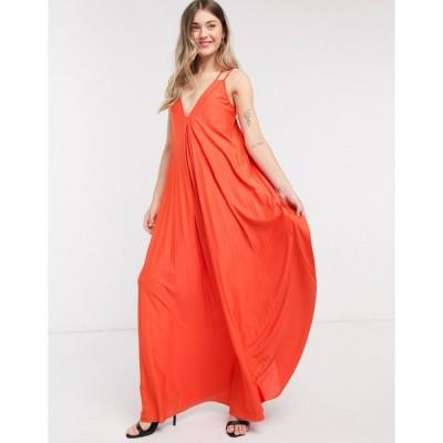 エイソス マキシドレス レディース ASOS DESIGN double strap trapeze pleat maxi dress in orange エイソス ASOS オレンジ