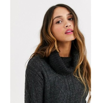 キューイーディーロンドン レディース ニット・セーター アウター QED London roll neck cable knit sweater in charcoal